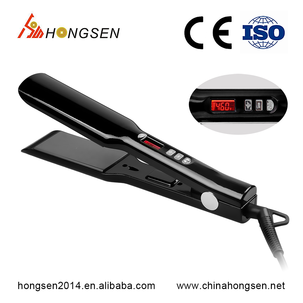 Custom Logo Wide Plate High Temperature Titanium Power Cable Hair Straightener Flat Iron