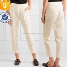 Ladies Creamy White Pleated Crepe Pants Manufacture Wholesale Fashion Women Apparel(TS0133P)