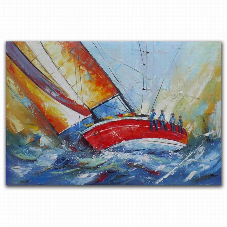 100% handpainted sea landscape oil paintings of boats on beach