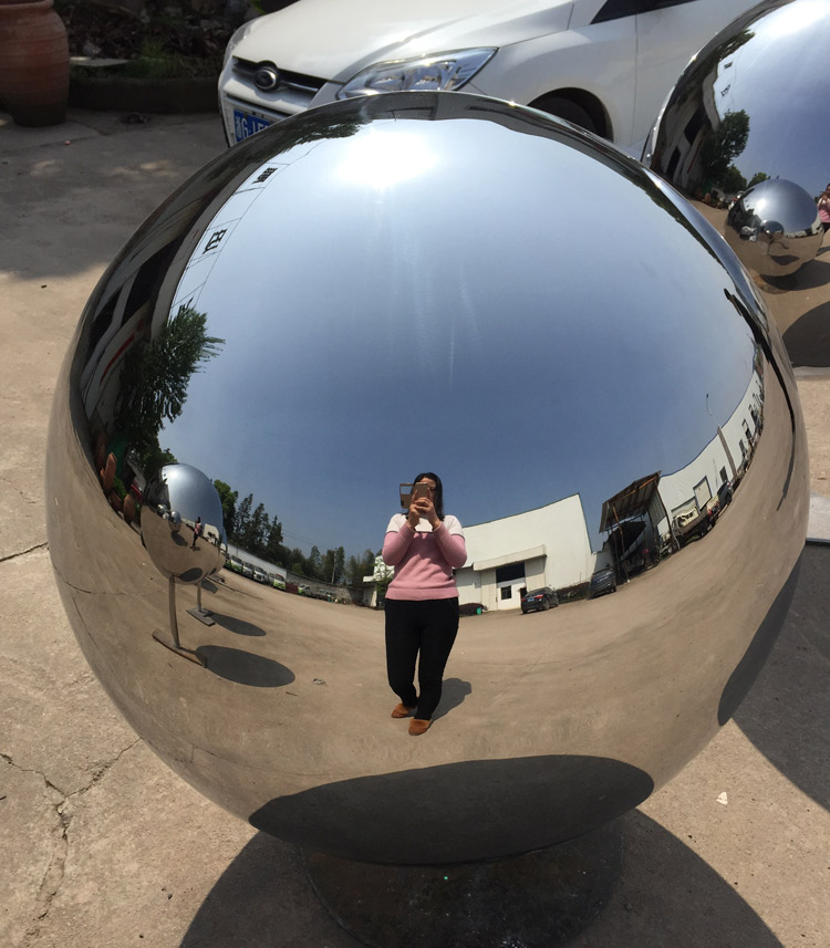Mirror polished simple stainless steel satellite dish sculpture for decoration