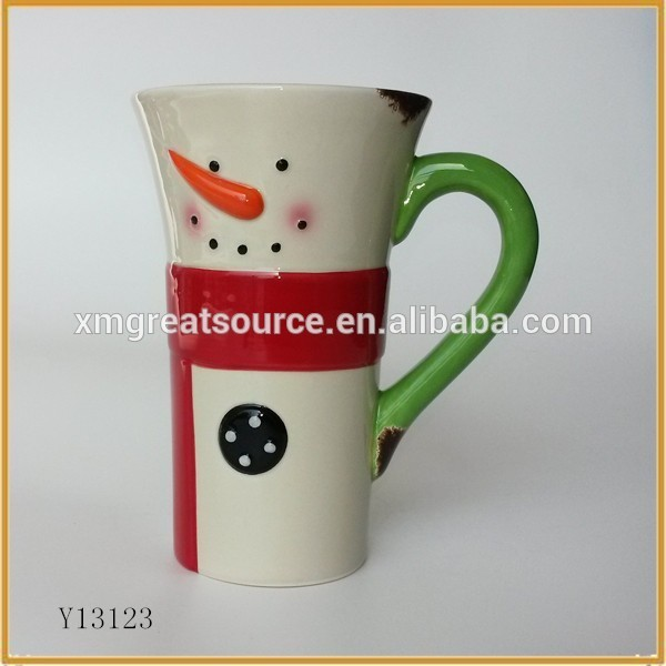 Beautiful snowman design pretty wholesale ceramic custom creative cup