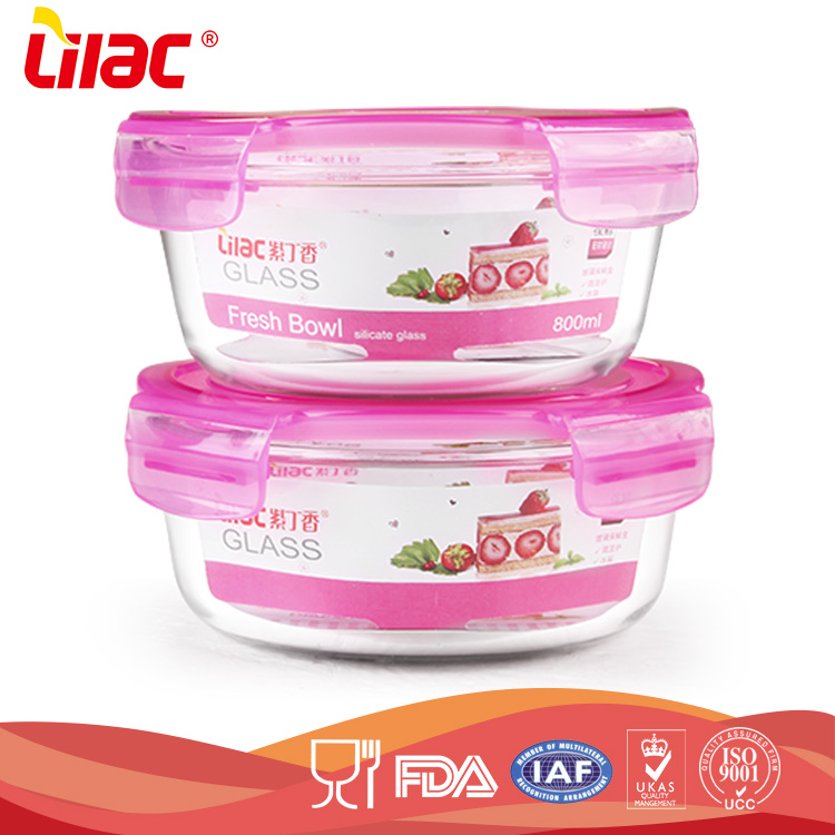 Wholesale High Quality custom size Food grade heat resistant microwave ovenround glass bowl