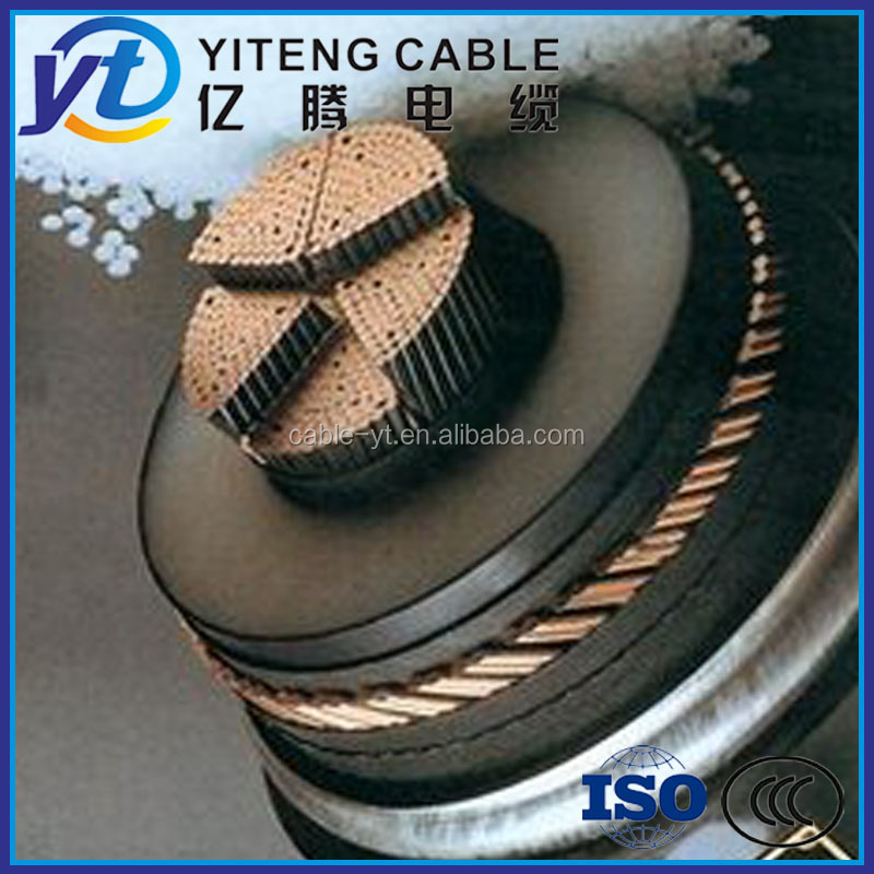 high voltage 4 core 350mm 400mm 500mm armored power cable size and current rating