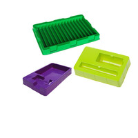 Custom colorful PS rectangle plastic compartment tray with lid