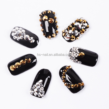 2016 NEW hot fix golden and silver rhinestone for nail art decoration
