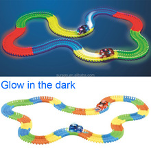 Kitoz 220pcs Racing Car Track Slot Toy Glow In Dark Colorful Buildable Assembly Racetrack Court with Led Car Bend Flex Twister
