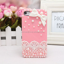 Cute pink buttlefly tie decorated girls jewelry phone cases with pearls