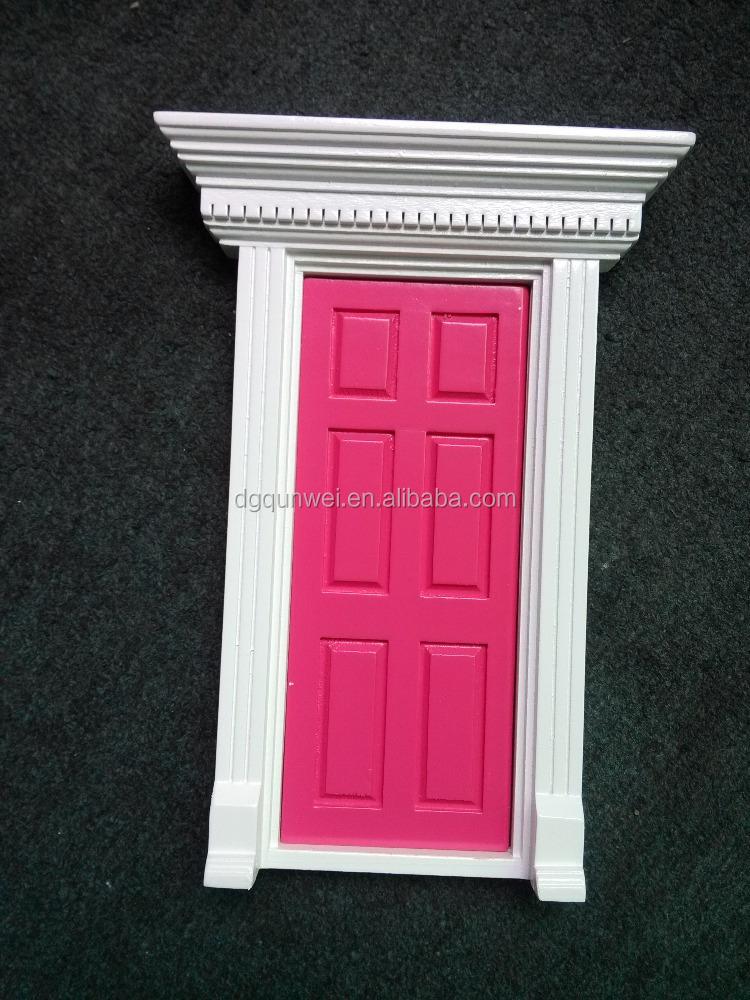 Wooden fairy front door qw60203 rose pink painted with for Fairy front door
