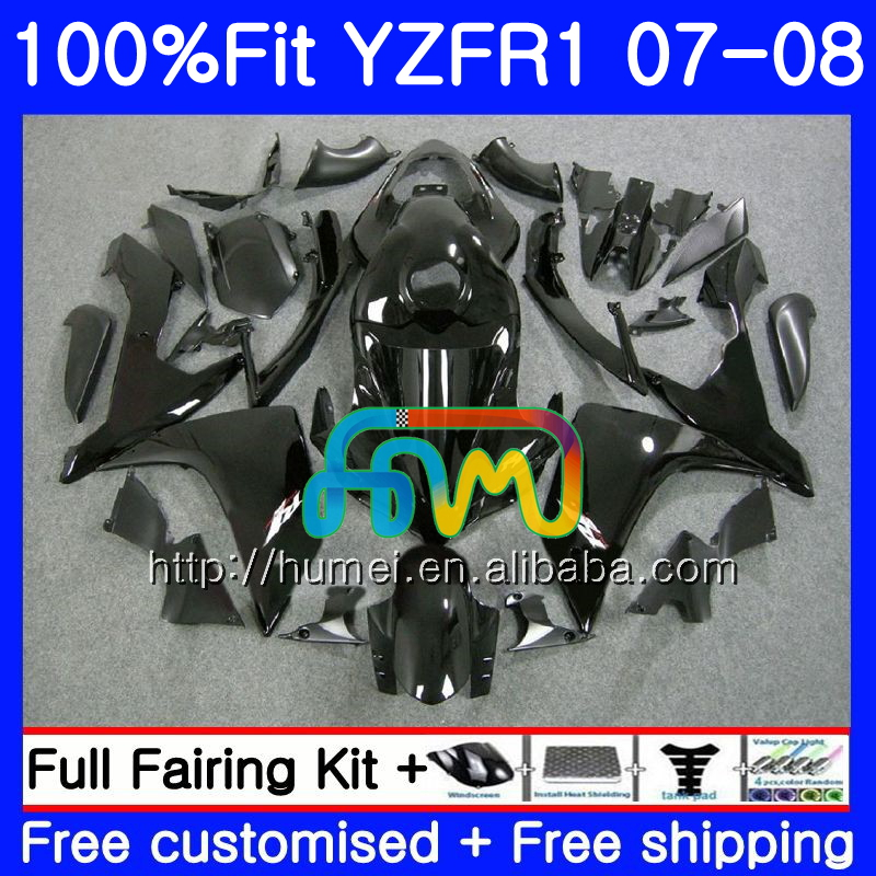 glossy black Injection Bodys For YAMAHA YZF 1000 R 1 YZF <strong>R1</strong> <strong>07</strong> <strong>08</strong> 90HM7 YZF1000 YZFR1 <strong>07</strong> <strong>08</strong> YZF-1000 YZF-<strong>R1</strong> 2007 2008 <strong>Fairing</strong>