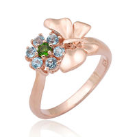 Womens Pink Gold Plated 925 Sterling Silver Ring with Blue Topaz and Green Chrome Diopside