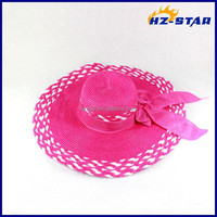 HZM-14243003 Deep pink butterbow big wide wheat for sale natural decorating straw hats