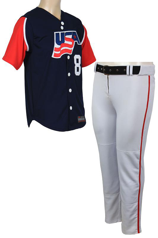 CUSTOM USA BASEBALL UNIFORMS WITH TACKLE TWILL NUMBERS , High quality product. PayPal Accepted