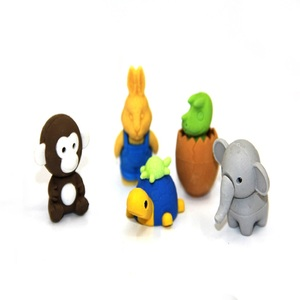3d animal rubber eraser colorful printing pencil eraser toppers