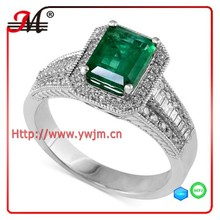 R7767 Fashion silver ring deep green stone clear cz emerald ring for women