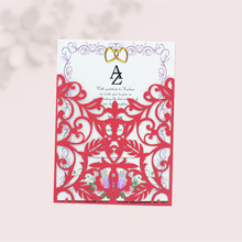 Chinese red classy pocket invitations laser cut wedding card
