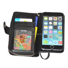 Zipper Wallet PU Leather Case Cell Phone Flip Cover Purse with Strap for iPhone 4 4S