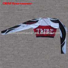 Sublimated cheerleader crop tops customized with rhinestone