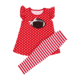 Boutique children clothing girls sport outfits red dot ball applique sets