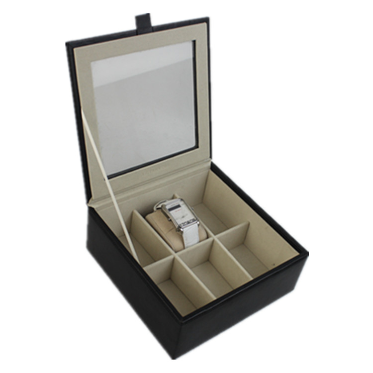 Customized Luxury 6 Slot Leather Watch Presentation Box & Watch Storage Case With Clear Glass Top