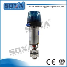 ss316L stainless steel sanitary welded pneumatic control butterfly valve with positioner