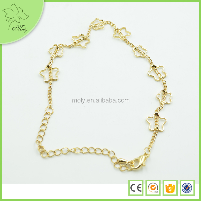 Flower Shape Gold Plated Girls Indian Gold Anklets