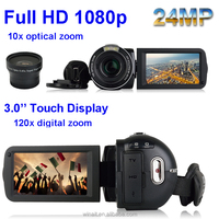 "24MP 1080P 3"" Touch TFT 120x Digital Zoom with 5.1M pixel CMOS sensor 10X Optical Zoom LCD Video Resolution Video Camera"