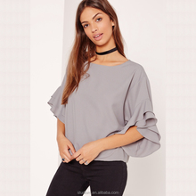 2016 latest fashion blouse design lady long sleeve comfortable blouse & top