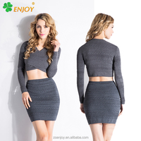 Fashion new design dark grey knitted slim long sleeveless women party dress