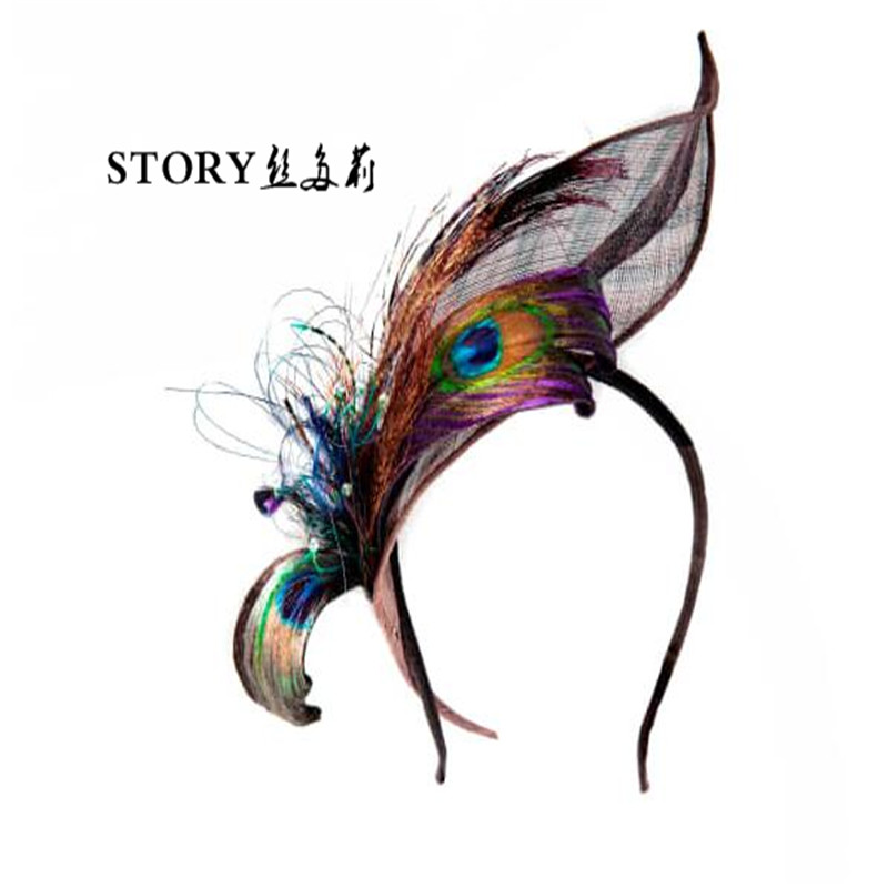 spring korean fashion Unique Eureopean wholesale fashion handmade peacock feather headband hair band hair accessory headpiece