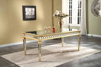 38x Height 30 x Length72 Elegant 38 Width Mirrored Dining Table in Gold Finish