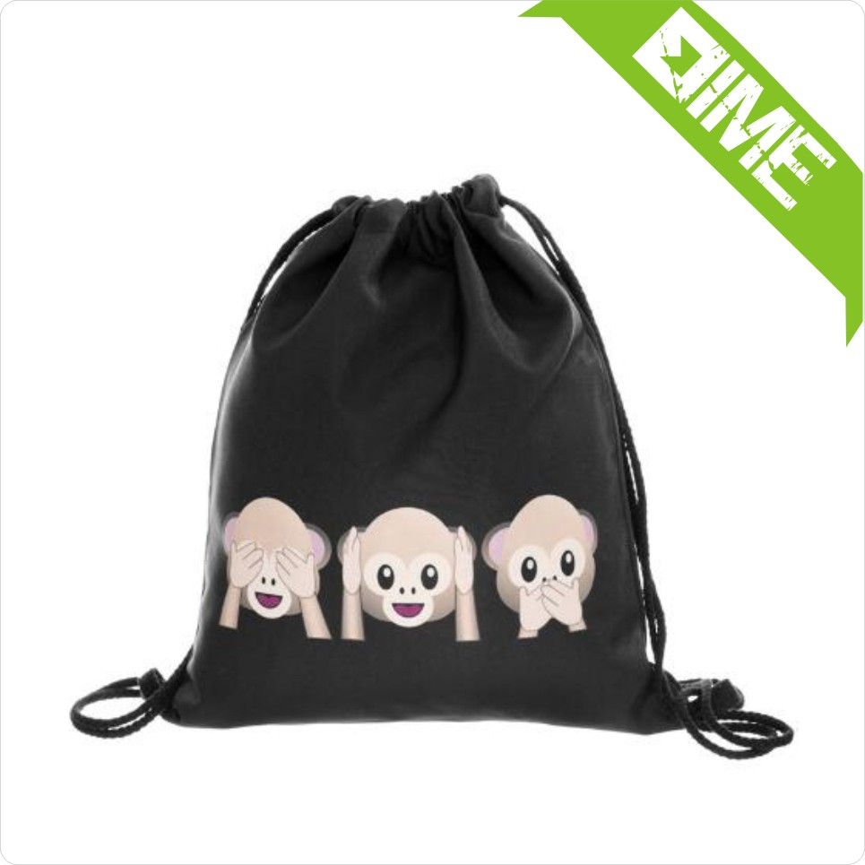 Small Monkey Cotton Drawstring Bag Could Customized Color And Size And Printing.