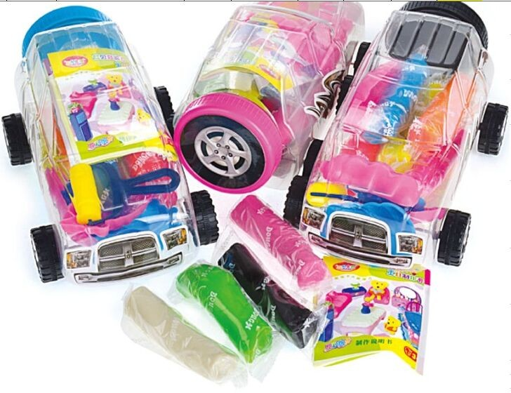 9 colors play dough in a pvc car-shaped case