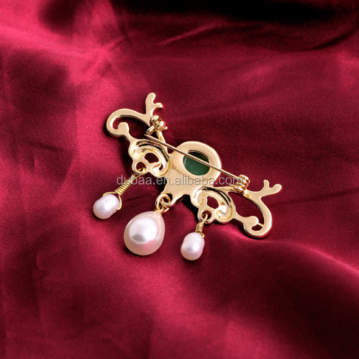Faux Pearl Rhinestone Fashion Costume Jewelry Pin Brooch,Stylish Gold Plated Crystal PearlBrooch Pin Women Gift Exquisite