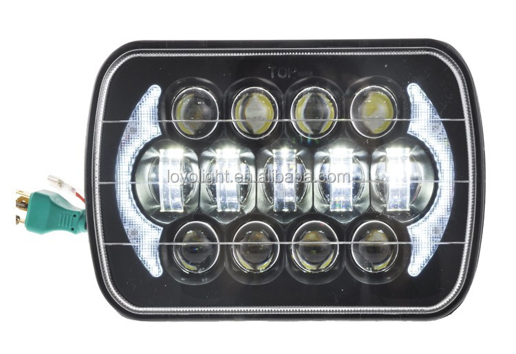 Chrome high low sealed beam 5500lumen 105w 5x7 7 inch led headlight for jeep truck