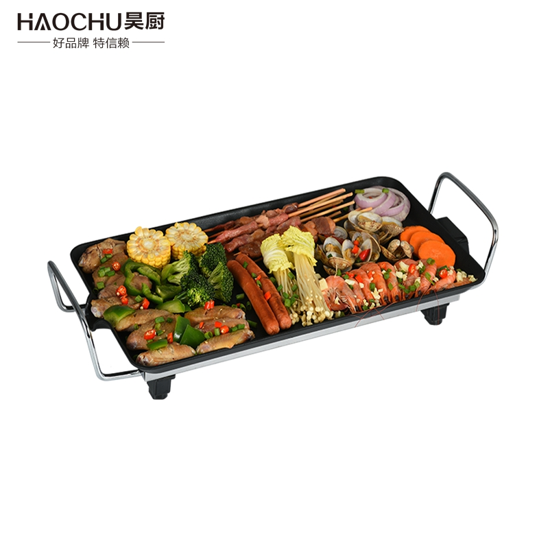 commercial industrial electric barbecue skewers grill with lava rock