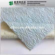 New design Light blue flower 3d customize 90 polyester 10 spandex woven jacquard fabric price per meter