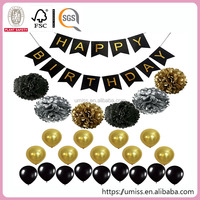 Black And Gold Decoration Happy Birthday