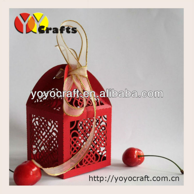 Chinese red wedding favor boxes candy boxes sweet boxes with ribbon from YOYO crafts