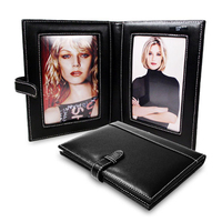 Folder Shape Black Leather Double Folding Hot Sex Photo Frame