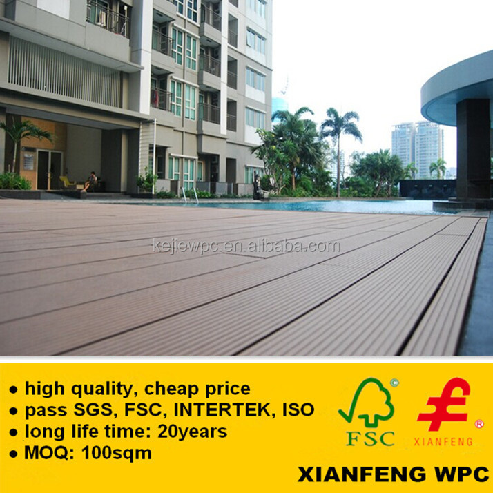 Fireproof Anti UV Timber Plastic Composite Decking Cheap Price WPC Decking Board