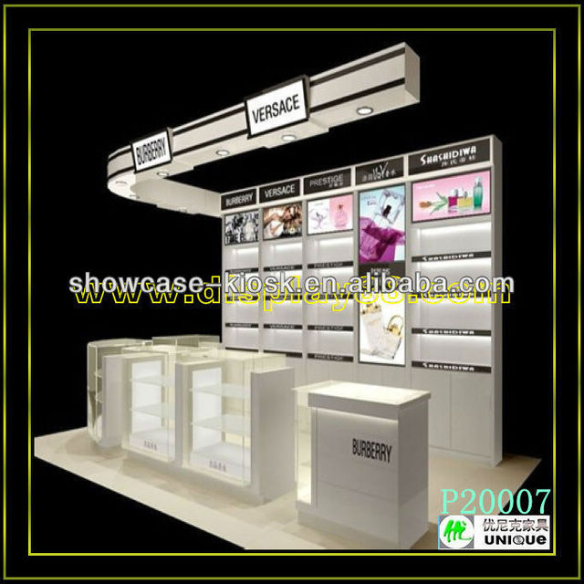 Customized Channel cosmetic showcase stand perfume display stand with logo*ceiling