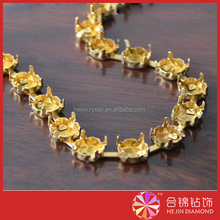 Golden plated cup chain rhinestone cup chain empty cup chain