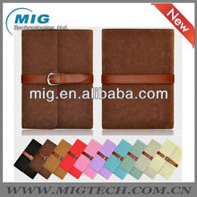 High quality leather case for ipad mini with nice belt, for mini ipad case