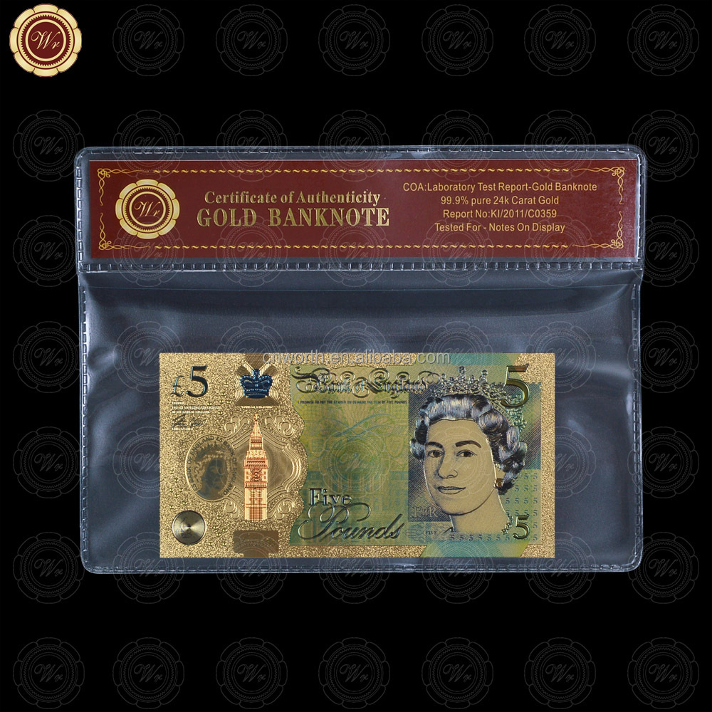 WR Colored Great Britain 5 Pounds 2016 UK QE II Gold Plated Polymer Banknote with Sleeve
