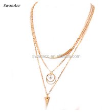 Gold Color Punk Style Body Choker Women Multilayer Chain Necklace