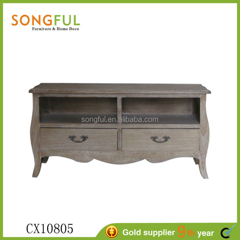 europe village style living room lcd tv stand wooden furniture hot sale