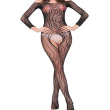 wholesale Long sleeve bodysuit nightgown black lace sexy lingerie nighty mature women