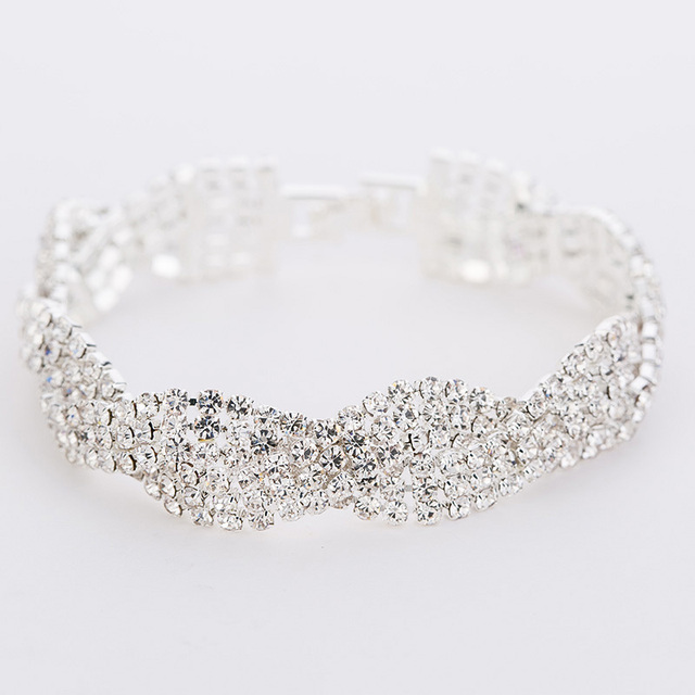 Luxury Wedding Austrian Crystal Bracelets For Women. Charm Silver Plated Friendship Chain Bracelets Bangles Fashion Jewelry