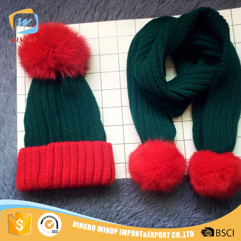 WINUP wholesale fashion christmas pom kids warm knitted hat scarf set