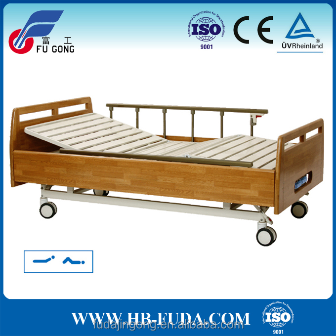 solid wooden design 2 cranks manual hospital bed, patient gurney bed